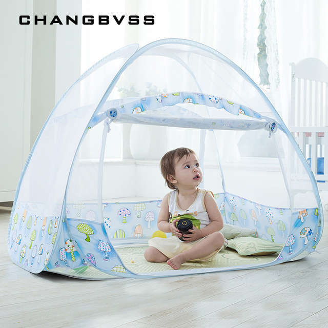 Blue Baby Bed Mosquito Netting Canopy Kindergarten Kid Cot Tent Folding Infant Crib Mongolian Yurts Nets for Children Room Decor