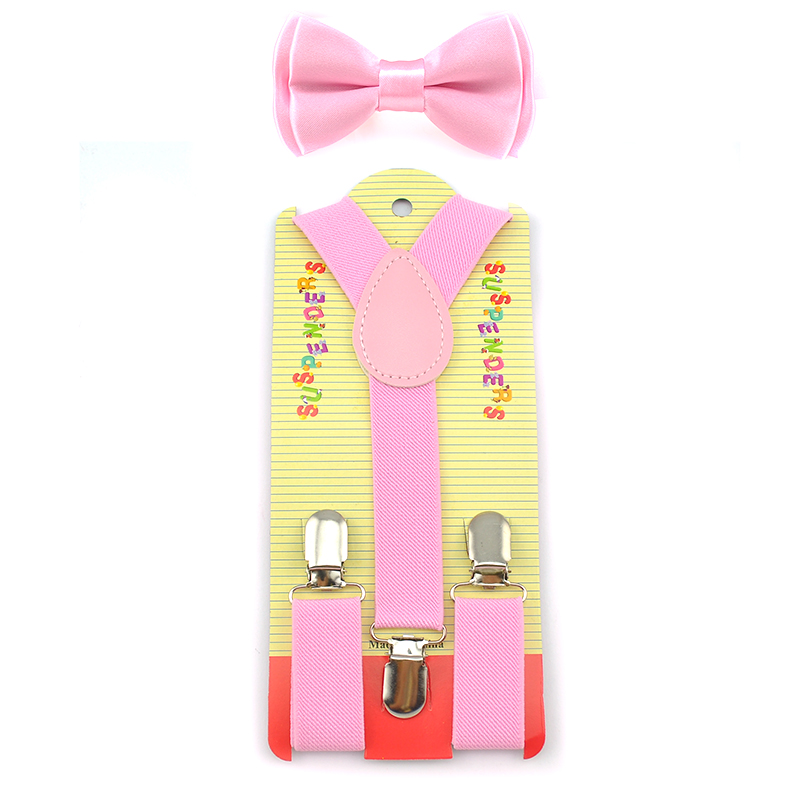 Fashion Kids Children Boys Girls Solid pink Pattern 22 Color Elastic Suspenders & Bow tie Set Y-Shape Braces&Butterfly Sets