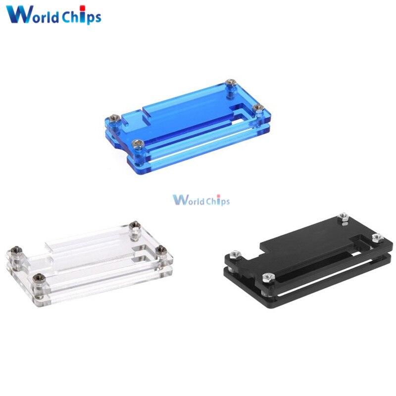 Dla Raspberry Pi Zero akryl sprawa Shell Box przezroczysty niebieski czarny kolor akrylowe pudełko ochronne z metalowym śruby i nakrętki Hot