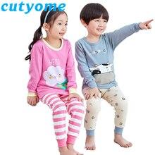 Купить с кэшбэком 2019 Kids Pajamas Sets Baby Girl Boys Clothes Cartoon Bear Cat Pijamas Teenage Boys Girls Long Sleeve T-shirt+Pants Pyjamas Sets