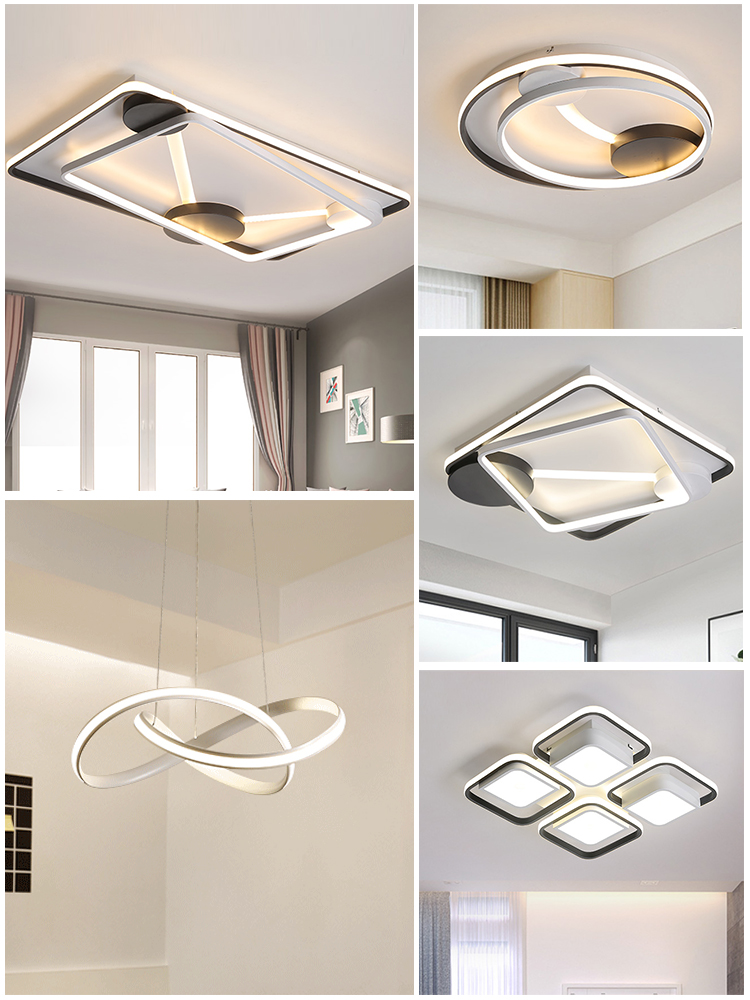 Modern LED Ceiling Light Fixtures For Living Room Bedroom Home Lighting With Remote Control Dimmable Black White Lamp LustreModern LED Ceiling Light Fixtures For Living Room Bedroom Home Lighting With Remote Control Dimmable Black White Lamp Lustre