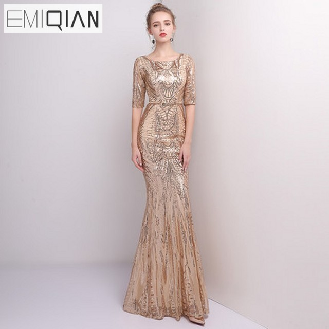 f6ef7c22349 Gold Sequined Mermaid Long Evening Dresses Half Sleeves Formal Evening Gown  Prom Party Dress robe de soiree
