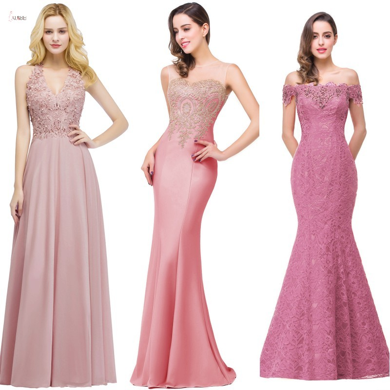 2019 Pink Chiffon Long Mermaid   Bridesmaid     Dresses   V Neck Sleeveless Applique Wedding Party Gown vestido madrinha