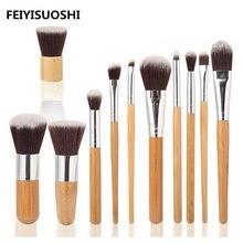 11Pcs Pro Beauty Makeup Brushes Set Bamboo Handle Flat Foundation Powder Brush Eyebrow Eyeliner Lip Contour