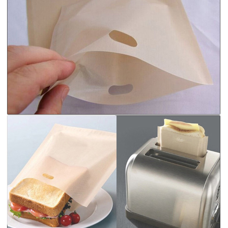 2pcs Made Easy Reusable Non-stick Baked Toast Bread Bags for Grilled Cheese Sandwiches Toaster Bags Baking Accessories image