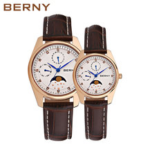 Japan Moon Phase Quartz Watches Women Fashion Casual Watch Luxury Rose Gold Leather Waterproof Ladies Quartz Wrist 2160L
