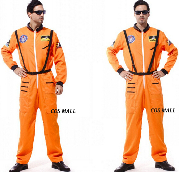 f5538976c858 Astronaut Orange Adult Men s Costume Halloween Space Moon Jumpsuit NASA  Free Shipping