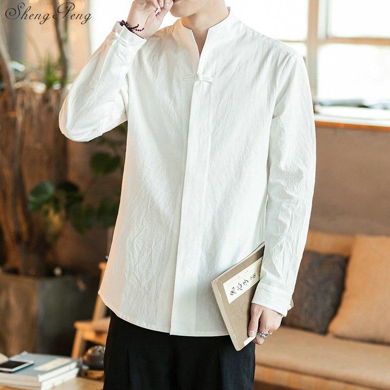 Chinois chemise blouse hommes traditionnel chinois vêtements pour hommes mâle chinois mandarin col chemise kung fu tenue hauts Q768