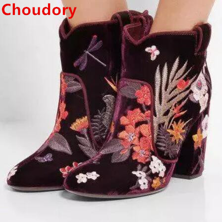 Embroidered flowers thick heels ankle boots spring autumn mixed colors round toe high heel short boots winter booties size 35-43