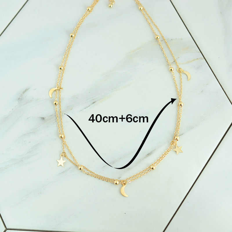 0dcc06cf946cc8 ... New fashion jewelry 2 layer star moon choker necklace nice gift for women  girl (order
