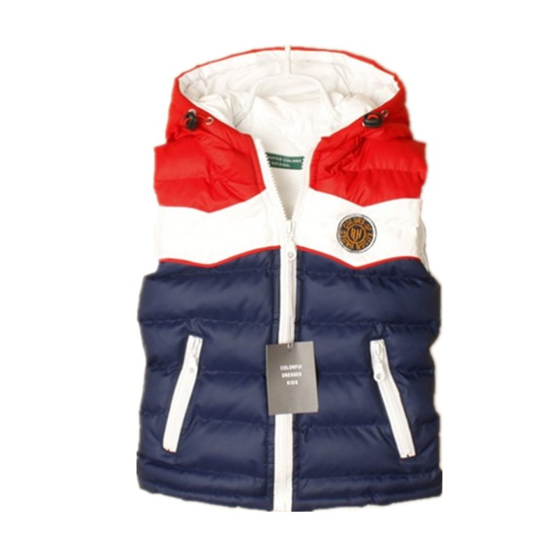 Spring and Autuam Children's Clothing Boys Girls Children Thick Colorful Patchwork Block Fashion Decoration Casual Vests