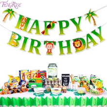 FENGRISEE Jungle Party Decor Dinosaur Birthday Kids Happy birthday Baby Shower Safari