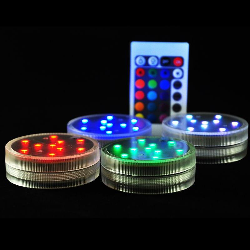 4tk sukeldatavad LED-valgustid Shisha kaunistusvalgustid Kaugjuhtimispuldi patarei juhitavad LED-tuled pulmade kaunistamiseks
