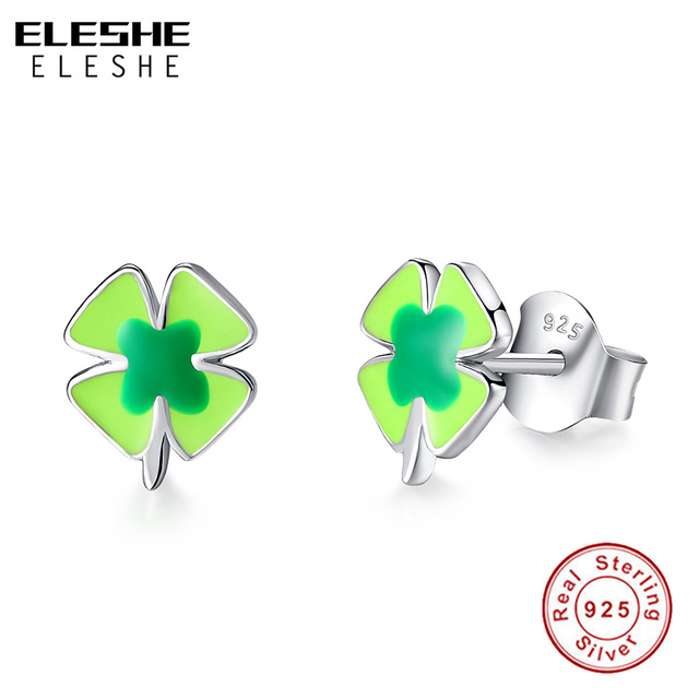 Eleshe Four Leaf Clover Earrings Stud Women 100 925 Sterling Silver Jewelry