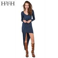 HYH HAOYIHUI Women Dress Solid Long Sleeve Deep V Neck Asymmetrical Sexy Pencil Dress Basic Casual