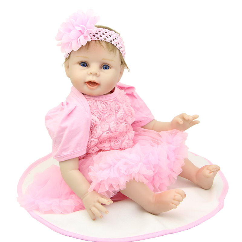 Handmade 22 Inch Newborn Baby Girl Doll Lifelike Reborn Silicone Baby Dolls Wearing Pink Dress Kids Birthday Xmas Gift handmade chinese ancient doll tang beauty princess pingyang 1 6 bjd dolls 12 jointed doll toy for girl christmas gift brinquedo