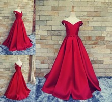 Real photo Red Off Shoulder Satin Prom Dresses  A Line V neck Pageant Evening party Gown 2019 New