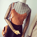 Women Lace Mesh See-through Fishnet Blouse Shirts Female Stylenanda Summer Chic Sexy Long Sleeve Bottoming Shirts Black T Tops