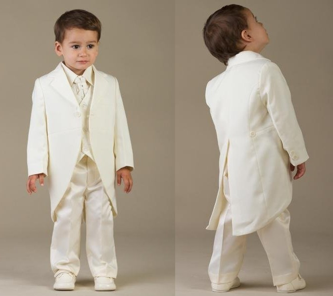 New Arrival One Button Ivory Kids Tuxedos Handsome Primary Scholar Business Suits Boy Prom Suits (Jacket+Pants+Vest+Tie) K:685