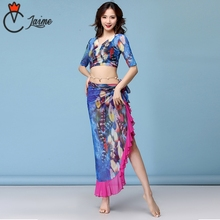 цены New Fashion Women Dance Clothing Tie-dye Peacocks Belly Dance Costume 2pcs Top Skirt linen swing Ruffle skirt