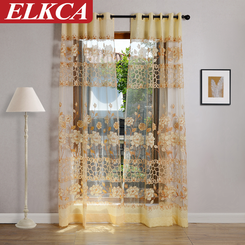 Luxury Royal Style Sheer Curtain Pretty Chinese Yellow Peony Flower Curtains  Door/Window/Room