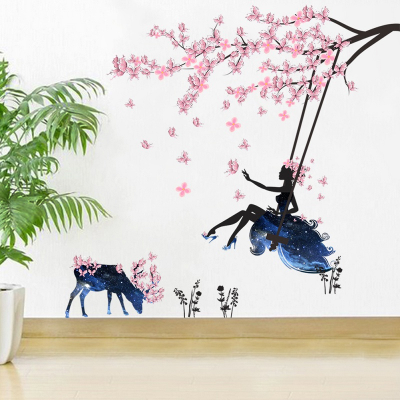 Flower Fairy And Elk Sheet Wall Sticker Pink Decorative Fairy Wallpaper Sticker