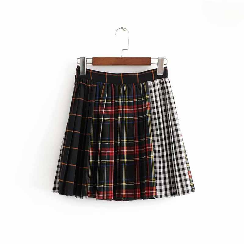 גבוהה מותן מיני אונליין חצאית נשי חמוד קצר חצאית, נשים Harajuku חצאיות גותי ססגוניות משובץ התחנן חצאיות פאנק סגנון