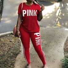 цены на Women Two Piece Set 2019 Summer Pink Letter Print Tracksuits Plus Size T-Shirt Top And Pants Set Suits Casual Bodcon 2 Piece Set  в интернет-магазинах