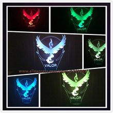 2017 Children's Day Valor Pokemon Go Game Eagle 3D Lamp Visual LED USB 7 Colors Change Kids Toys Child Best Gift Table Decor