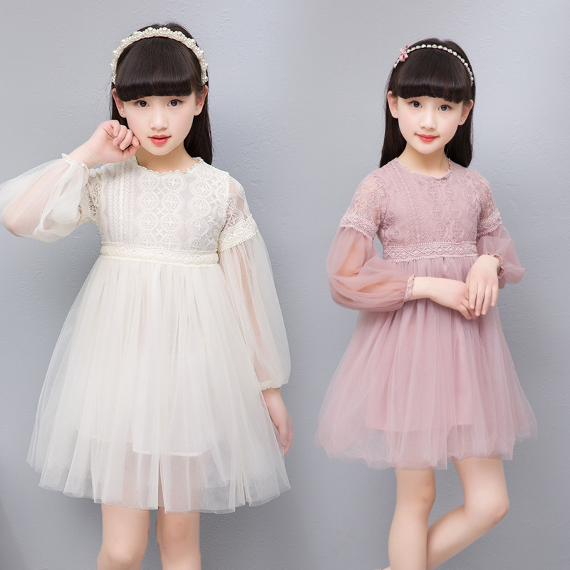 Kids Children Girls Pink Beige Sweet Long Sleeve Lace Tutu Tulle Princes Dress For Girls Mini Shirt Dress 2 3 4 <font><b>5</b></font> 6 8 10 Years image