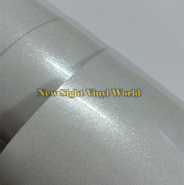High Quality 3 Layers Glossy Pearl White Diamond Glitter Vinyl Wrap Roll Bubble Free For Car Size:1.52*20M(5ft X 65ft)