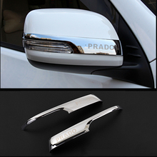 كروم سيارة مرآة الرؤية الخلفية غطاء الكسوة قطاع ملصق لتويوتا لاند كروزر برادو 150 2010 2016 2017 2018 2019 2020 اكسسوارات