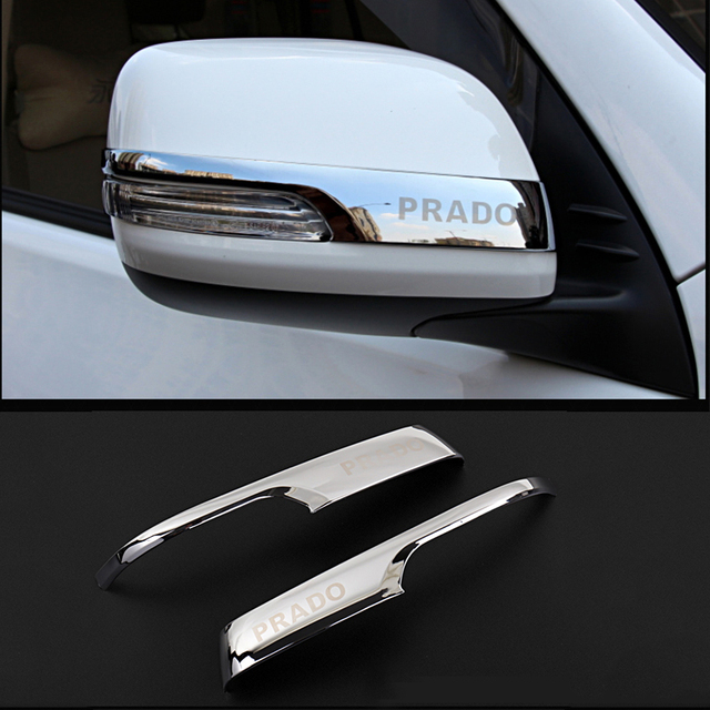 Chrome Car Rearview Mirrors Cover Trim Strip Sticker For Toyota Land Cruiser Prado 150 2010 2016 2017 2018 2019 2020 Accessories