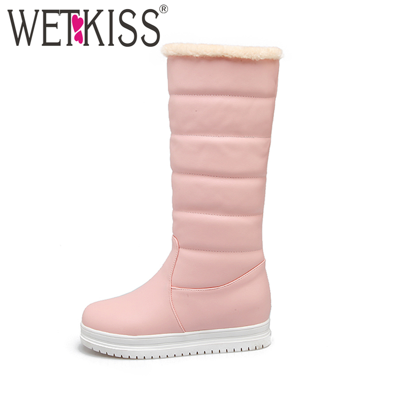 WETKISS 2017 Keep Warm Winter Boots Thick Fur Shoes Woman Snow Boots Mid Calf Height Increasing