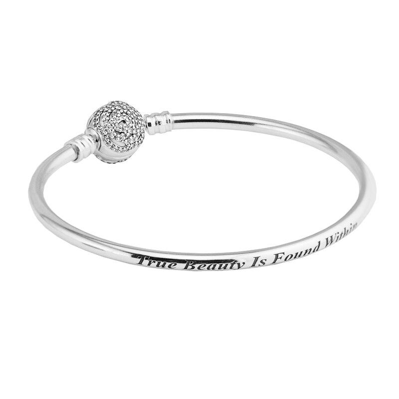 Pandulaso Beauty and the Beast Bangle Rose Clasp Bracelet 925 Sterling Silver Jewelry For Women Bracelet DIY Jewelry
