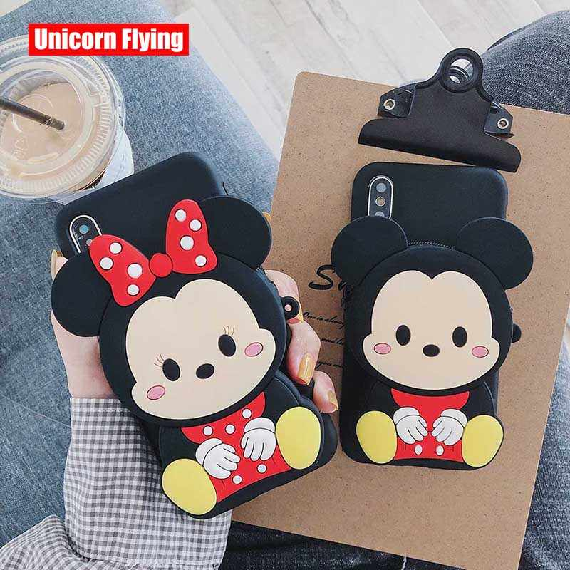 LinXiang Adorável Mickey Mouse Minnie Coin Purse Silicone Suave Tampa Traseira Do Caso Do Telefone Para O iphone 6 6s 7 8 Plus X XS Max XR