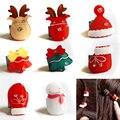 F201 Envío Gratis bebé ciervos de Navidad árbol de navidad adornos De Navidad muñeco de nieve de la manera mini ronda hebilla de broche para el cabello atrapado 8 unids/se