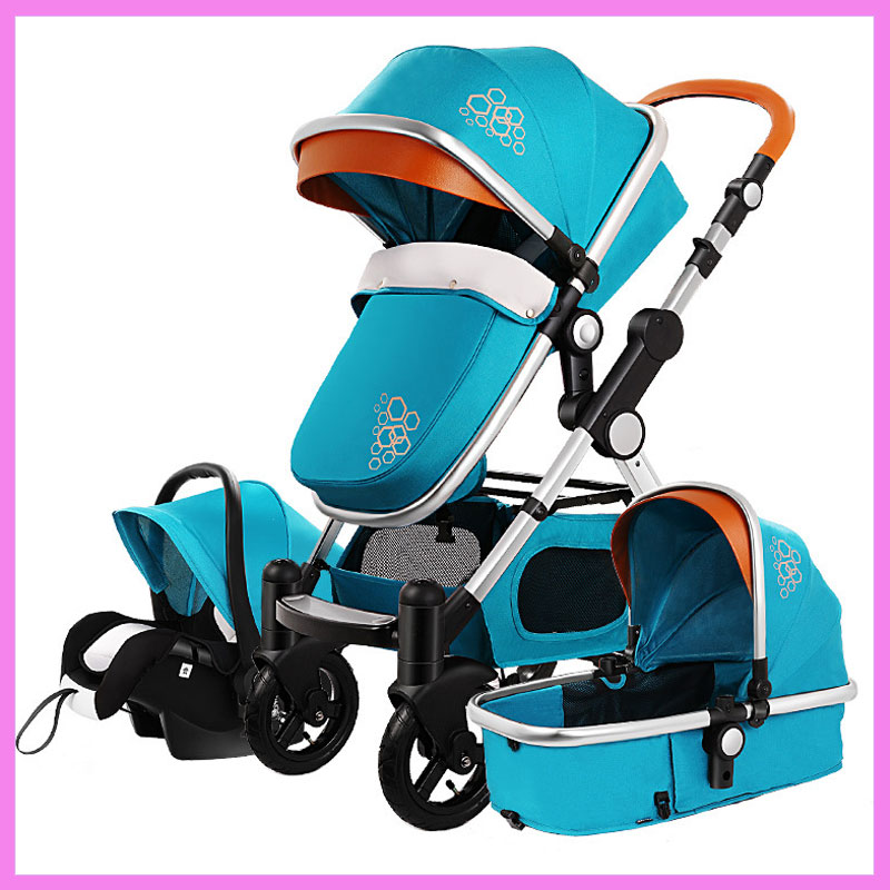 High View Luxury Infant Baby Stroller 3 In 1 Four Wheel Folding Travel System with Car Seat Cradle Sleeping Basket Stroller Pram stroller car seat newborn pram 3 wheels baby stroller 3 in 1 prams pushchair pram stroller travel system free shipping