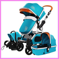 High View Luxury Infant Baby Stroller 3 In 1 Four Wheel Folding Travel System with Car Seat Cradle Sleeping Basket Stroller Pram