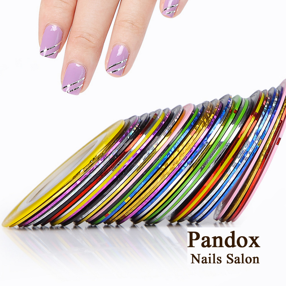 Pandox Striping Tape Line Nail Art Tips Decoration Sticker Nail 10pcs Mixed Colors Nail Rolls Striping Tape Line DIY For Nail 30pcs pack 2m mixed colors rolls 3d striping tape line diy nail art decoration sticker uv gel polish tips metallic yarn decal
