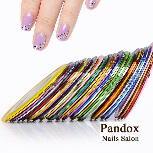 Pandox tira de cinta línea uñas arte consejos decoración pegatina uñas 10 piezas colores mezclados rollos de uñas línea de cinta DIY para uñas