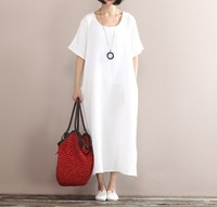 New 2017 Summer Arts Style High Quality Cotton Linen Robe White Dress Women Vintage Short Sleeve