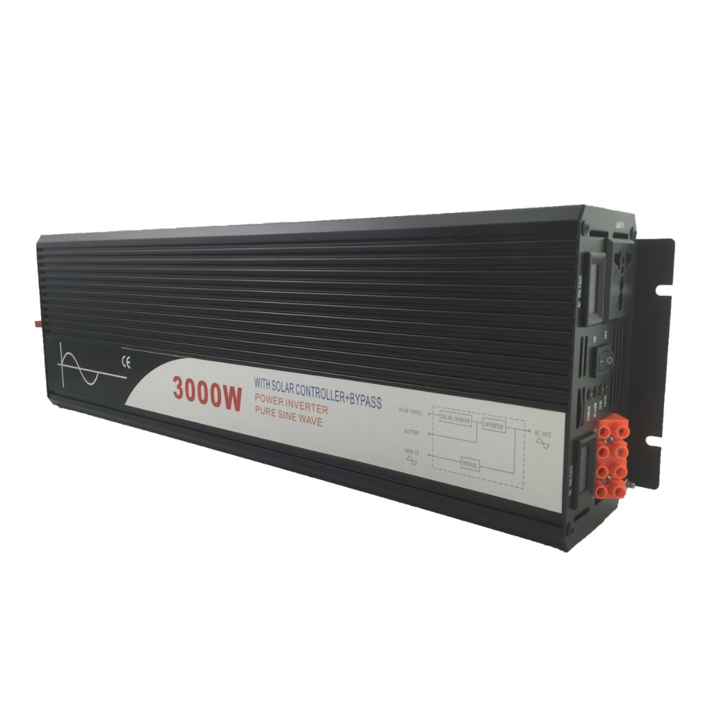 pure sine wave solar power inverter 3000w 12V/24V DC to AC 120V/220V with solar controller with bypass