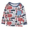 Новая Коллекция Весна Осень Длинный Рукав Мальчиков Блузки Дышащий 100% Хлопок Дети Рубашки 18 м-6 т малыш мальчик/девушки автомобиль печати Рубашки