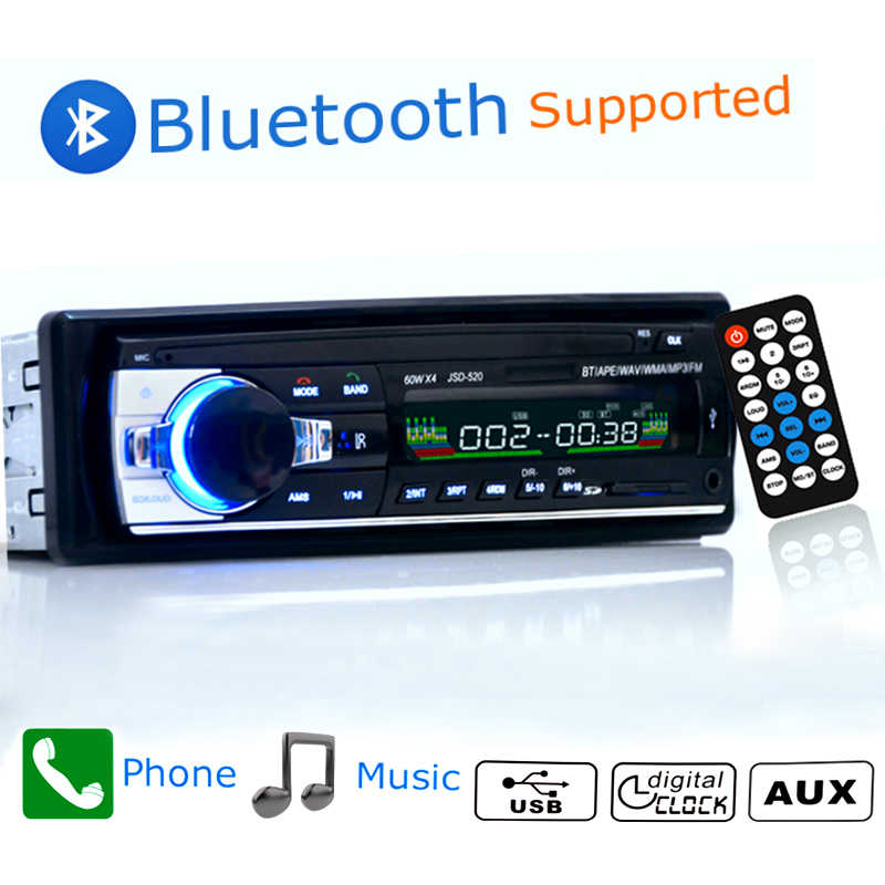 12V Car Radio Bluetooth 1din Car Stereo Player Phone AUX-IN MP3 FM/USB/radio remote For phone Car Audio FM Aux Input Receive #2
