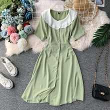 NiceMix sweet Korean preppy style Womens Clothing fashion brand summer new knee dress turn-down collar button patchwork dresses