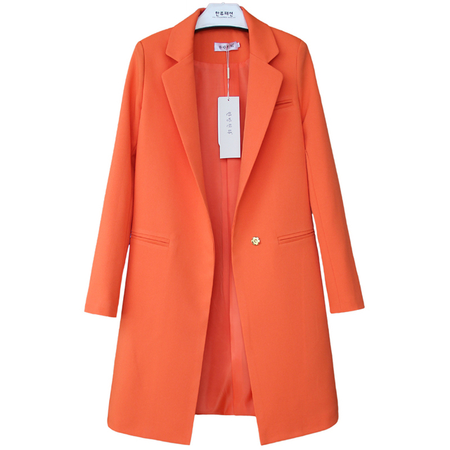 Women Middle Long Jacket Coat 2017 Spring Autumn Long Sleeve Lapel Solid Color Elegant Slim Work Blazers Suit feminino C689