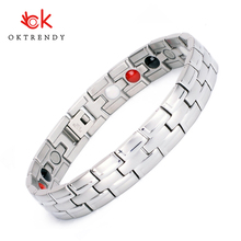 Oktrendy Stainless Steel Magnetic Bracelets Male Jewelry SILVER Plating Bracelet for Women Men Bangle Classic Design