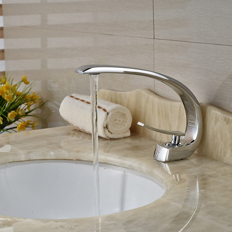 Chrome Single Handle Curve Shape Basin Faucet Deck Mount Brass Bathroom Vessel Sink Mixer Taps