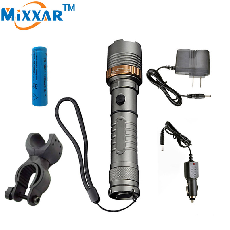 ZK30 Cree XM-L T6 LED Flashlight Rechargeable 4000LM Self Defense Tactical LED Torch 18650 Battery for Cycling Camping Light